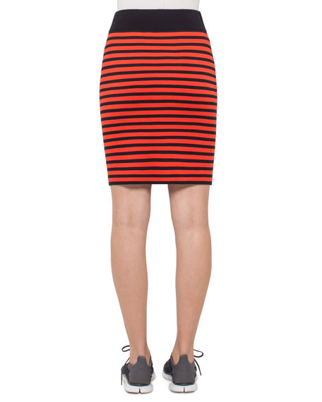 Two-Tone Striped Pencil Skirt, Rust/Navy