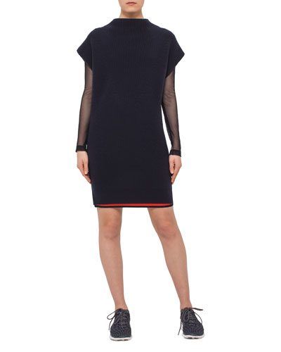 Chunky Cap-Sleeve Side-Vent Tunic, Denim