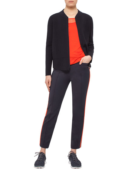 Franca Side-Striped Ankle Pants, Navy/Rust