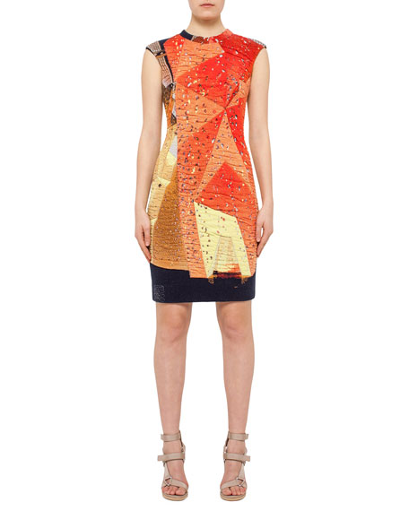 Akris punto Rock Climbing Wall Printed Cap-Sleeve Dress,