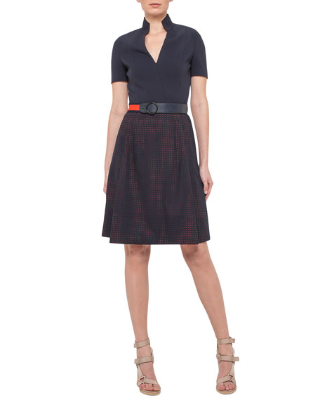 Akris punto Short-Sleeve A-Line Combo Dress, Navy/Rust