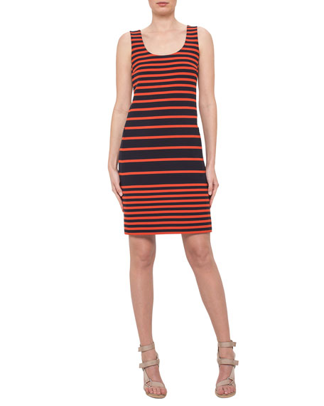 Akris punto Sleeveless Striped Scoop-Neck Dress, Navy/Rust