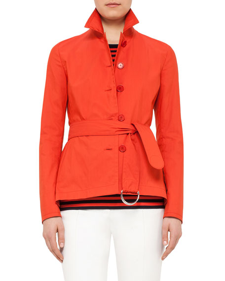 Akris punto Button-Front Belted Short Trench Coat, Rust