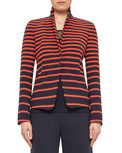 Graphic-Striped One-Button Jacket, Navy/Rust