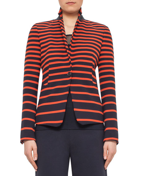 Akris punto Graphic-Striped One-Button Jacket, Navy/Rust