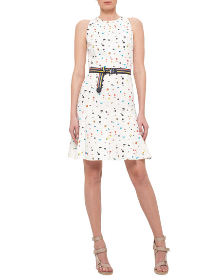Akris punto Boulder-Print Flounce-Hem Belted Dress, Cream