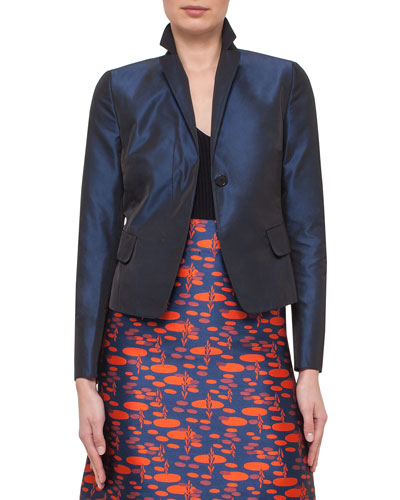 Iridescent One-Button Flap-Pocket Jacket, Navy