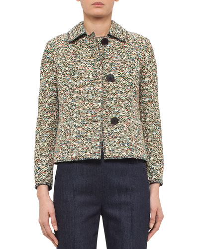 Static Tweed Three-Button Jacket, Multi