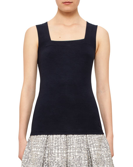 Square-Neck Fitted Tank, Navy