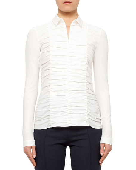 Ruched-Front Fitted Blouse, Cream
