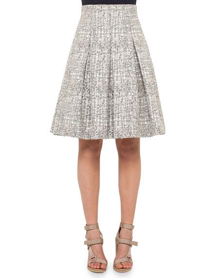 Akris punto Cross-Stitch A-Line Pleated Skirt, Cliff/Chalk