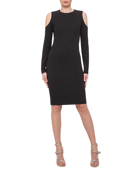 Akris punto Long-Sleeve Cold-Shoulder Sheath Dress, Navy