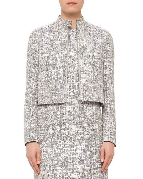 Akris punto Cross-Stitch Printed Jacquard Jacket, Square-Neck