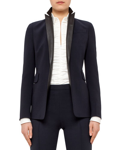 One-Button Blazer w/Leather Lapels, Navy