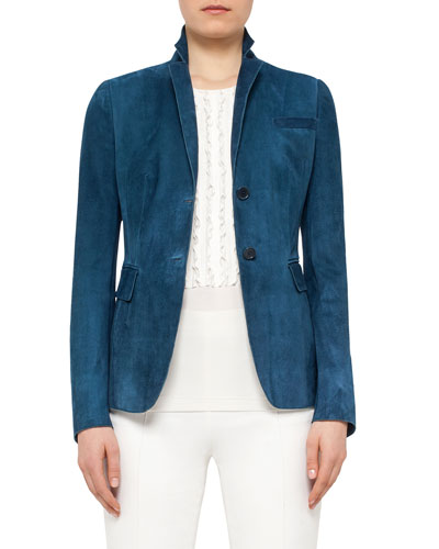 Notch-Collar Two-Button Suede Blazer, Tarn