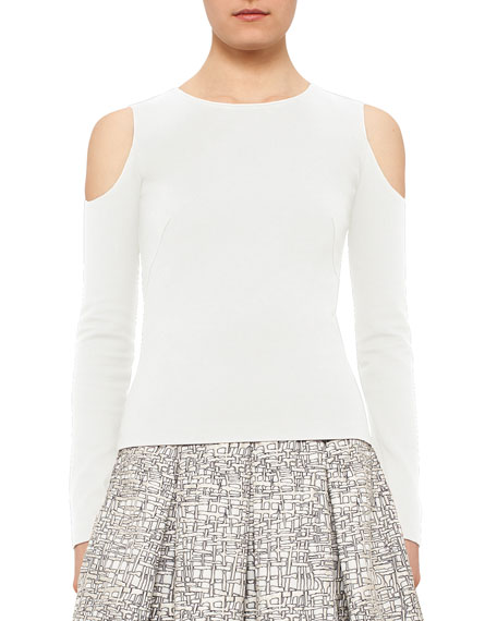Akris punto Cold-Shoulder Back-Zip Top, Cream