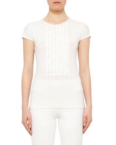 Akris punto Cap-Sleeve Ruffle-Placket Shirt, Cream