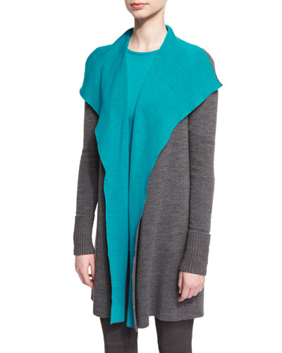 Reversible Waterfall-Drape Colorblock Sweater, Flint Melange/Peacock
