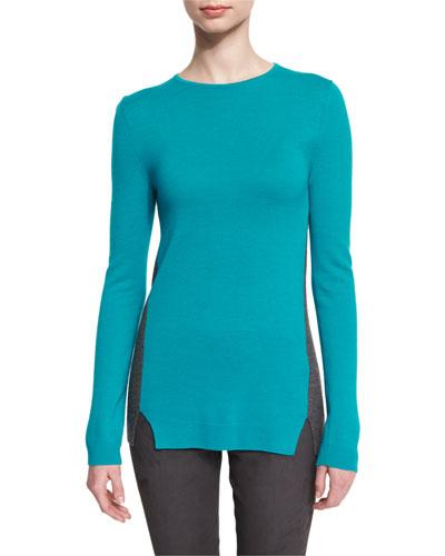 Colorblock Long-Sleeve Sweater, Peacock/Flint Melange