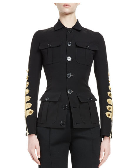 Button-Front Military Jacket, Black/Gold