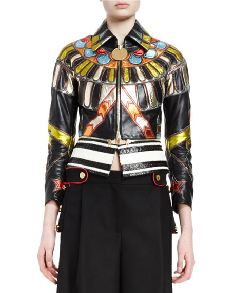 3/4-Sleeve Leather Zip-Front Jacket, Multi Colors