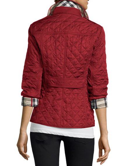 Burberry Ashurst Classic Modern Quilted Jacket Parade Red