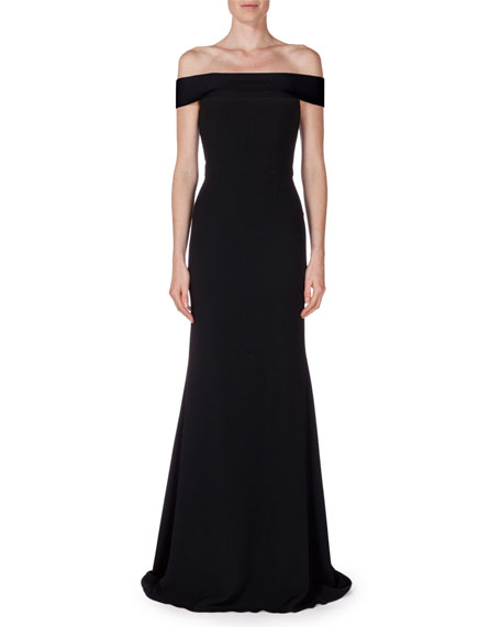 Lamble Off-The-Shoulder Gown, Black