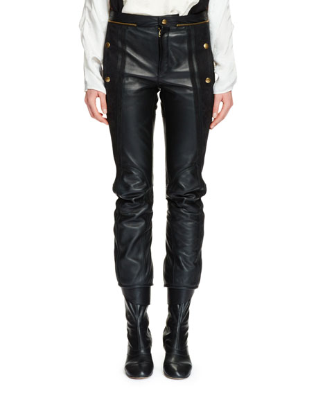 Chloe Cropped Leather & Suede Biker Pants, Black