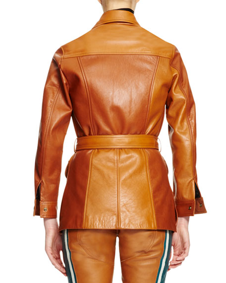 Button-Front Belted Leather Jacket, Ochre
