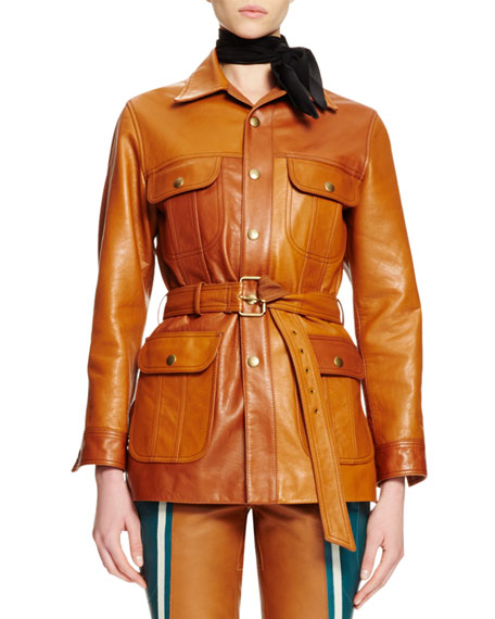 Chloe Button-Front Belted Leather Jacket, Ochre