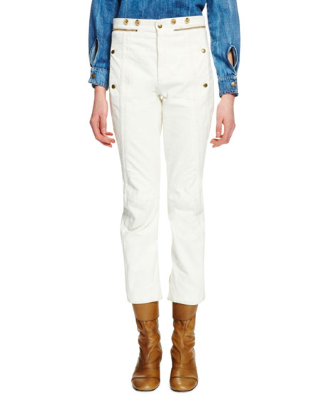 Chloe High-Waist Denim Biker Pants, Optic White