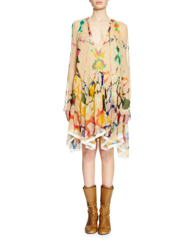Long-Sleeve Split-Neck Inkblot Dress, Beige/Multi