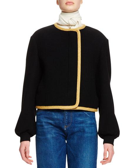 Chloe Bishop-Sleeve Cropped Jacket, Black