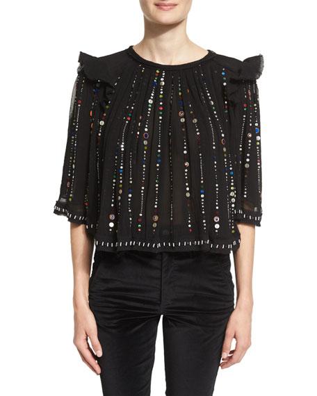 Isabel Marant Fordon Half-Sleeve Embellished Blouse, Black