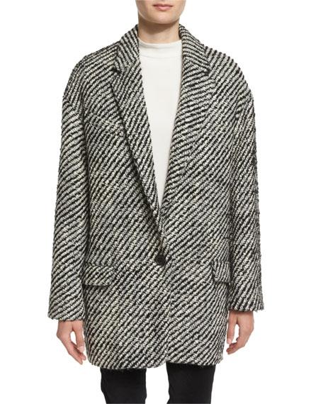Isabel Marant Ilaria One-Button Oversized Blazer, Ecru/Black