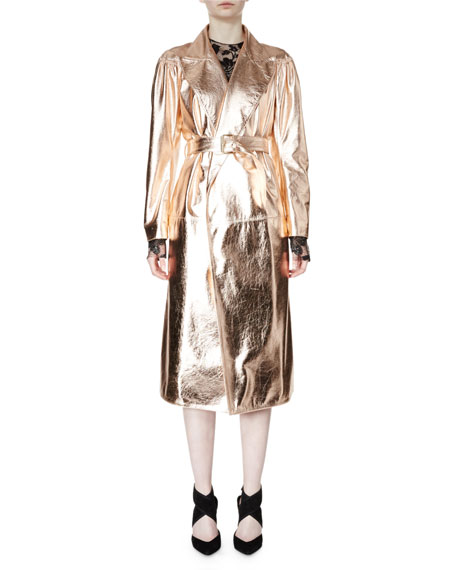 Lanvin Belted Metallic Trenchcoat & Metallic Lace-Overlay Column