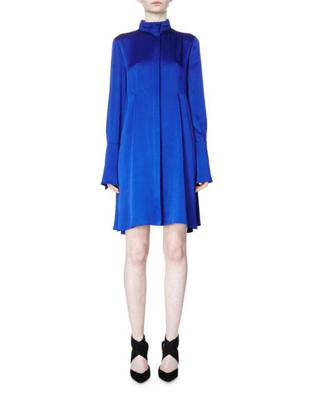 Lanvin Long-Sleeve Band-Collar A-Line Dress