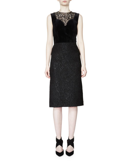 Lanvin Sleeveless Moire-Print Sheath Dress, Black