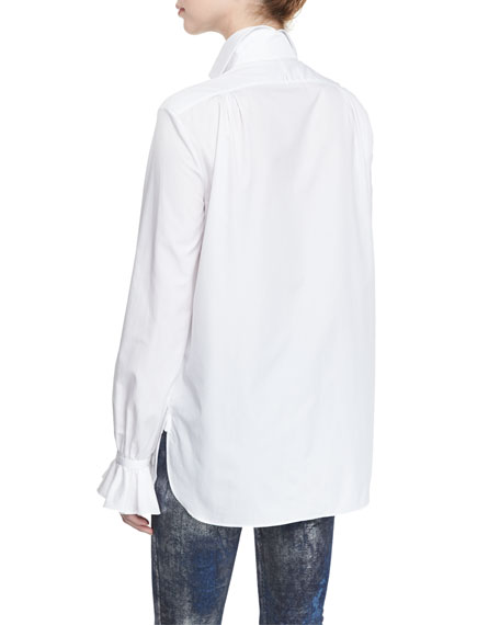 Adriana Ruffled Cotton Blouse, White