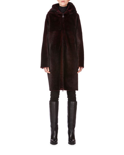 Bicolor Hooded Zip-Front Lamb Fur Parka, Schwarz Mangosteen
