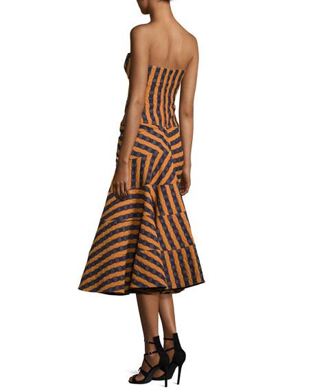 Strapless Bustier-Bodice Midi Dress, Navy