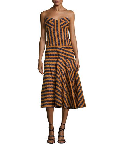 Victoria Beckham Strapless Bustier-Bodice Midi Dress, Navy