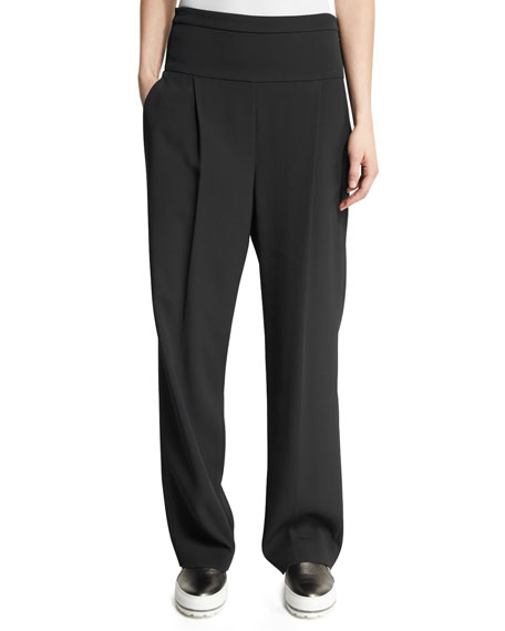 Brunello Cucinelli Pleated High-Waist Wide-Leg Pants, Onyx