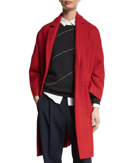 Flannel Drop-Shoulder Coat, Poppy