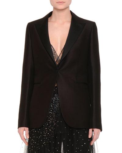 One-Button Boxy Tuxedo Jacket, Black