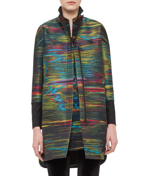 Akris punto Jacquard Zip-Front Coat, Northern Lights