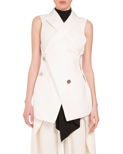 Asymmetric Button-Front 2-In-1 Vest, Off White