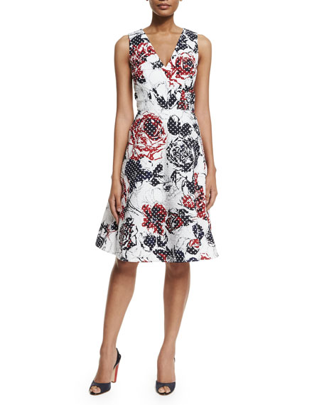 Carolina Herrera Dotted Rose-Print Sleeveless A-Line Dress, Red/Navy/White