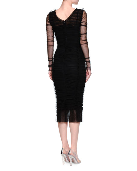 Sheer Long-Sleeve Sheath Dress, Black