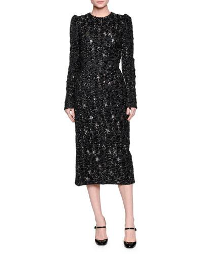 Long-Sleeve Metallic Midi Dress, Black/Gold
